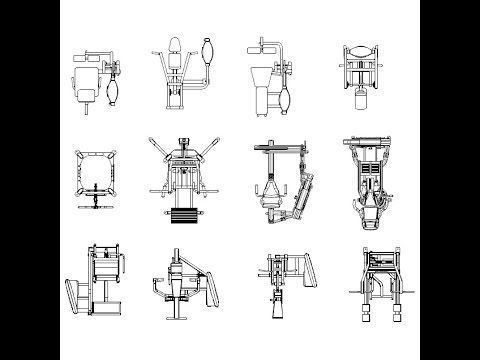 Download this collection of over 300 2D CAD Blocks of Gym Equipment.The collection includes, squat racks, free weights, bicycles, rowers, treadmills, cross-trainers, weights benches, mats, balls, weights machines and many more. AutoCAD 2004 .dwg format. - See more at: http://cadpirate.com/caddetails.php?detailsid=2167