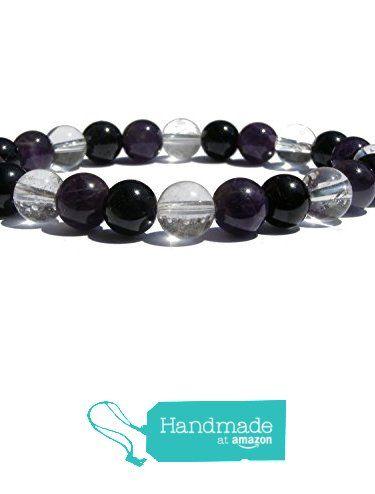 "ZENstore Aura Protection Healing Bracelet Natural Gemstones size 0.3"" 8mm Amethyst Black Tourmaline (Certified) Crystal Quartz Protection Stability Energy De-stress from ZENstore https://www.amazon.com/dp/B071ZS6H39/ref=hnd_sw_r_pi_dp_p-qozbEHAWA7X  #handmadeatamazon  #Zenstore #chakra #gemstone #jewellery #fashion"