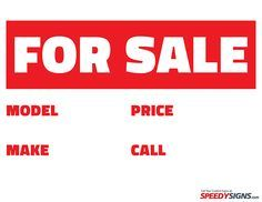 for sale signs to print free | Free For Sale Model Make Price Call Sign - Printable Signs at ...