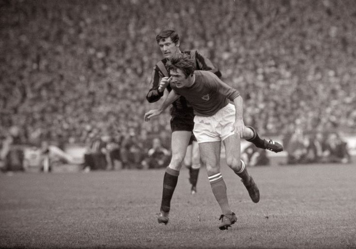 Man City 1 Leicester City 0 in April 1969 at Wembley. Mick Doyle and Len Glover battle for the ball in the FA Cup Final.