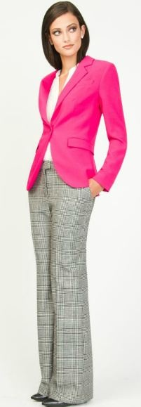 Le Chateau. HUMMMM...I have slacks just like this, thought of them as safe and conservative, but with that hot pink blazer ... !