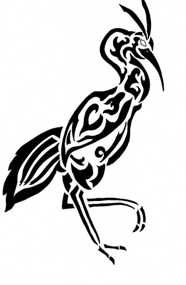 Black Ink Tribal Bird Tattoo Stencil