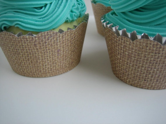 24 Burlap Cupcake Wrappers  Shabby Chic Rustic by brightsoslight, $7.60