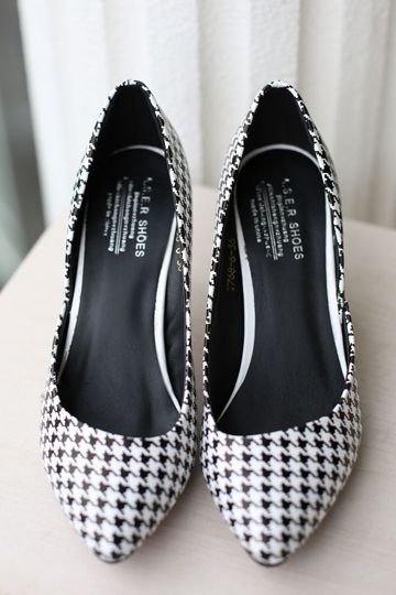 Chic Black and White Swallow Gird Heel [FABI1342]- US$46.99 - PersunMall.com