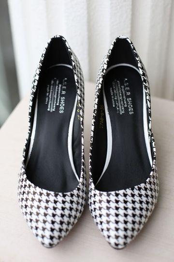 Chic Black and White Swallow Gird Heel [FABI1342]- US$46.99 - PersunMall.com