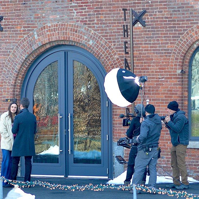 Collateral Beauty -- Scene being filmed at St. Ann's Warehouse theater in Brooklyn Bridge Park, Brooklyn, NY -- Photo: Tal Rubin, GC Images -- Architectural Digest -- The New York City Filming Locations of Collateral Beauty by Elizabeth Stamp -- 12-27-16