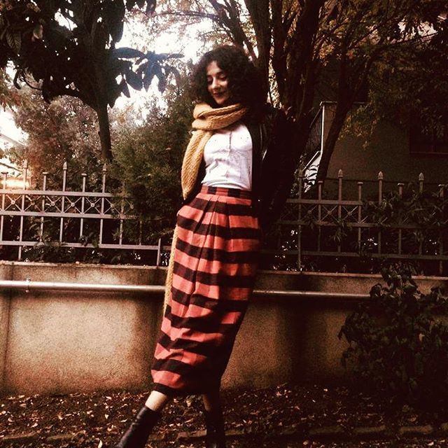 """Winter gal🍁👌  Ft.Our old time classic """"Stop the War"""" skirt in many, many plaids.Cause we love them❤  Get it on Sale!#midiskirt #plaid #red #highwaist #fashion #style"""