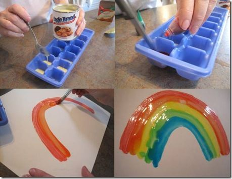 Tutorial: Painting with Condensed Milk: Idea, Food Colors, Milk Paintings, Onds Milk, Food Coloring, Kids Crafts, Dry Shiny, Condensed Milk, Ice Cubes Trays