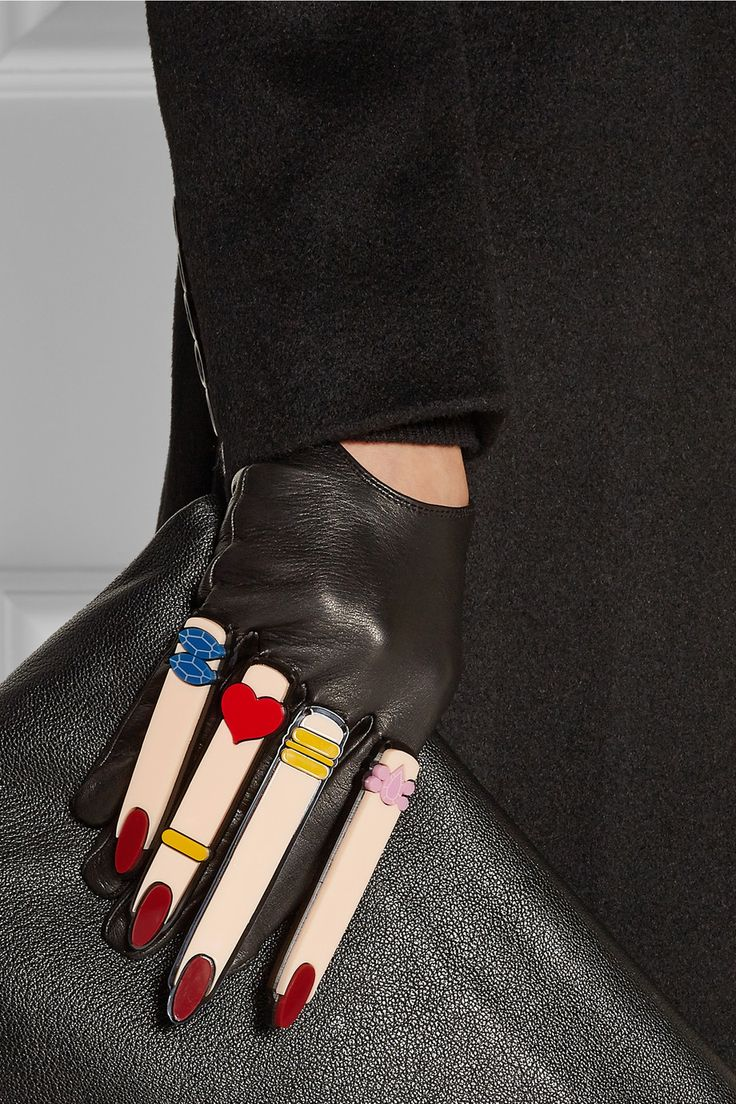 Ladies coloured leather gloves - Finds Yazbukey X Causse Gantier Plexiglas Embellished Leather Gloves