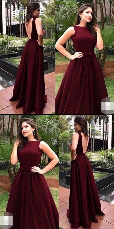 Popular Burgundy Open Back Long Prom Dresses,Sleeveless A-Line Party Evening Gow…