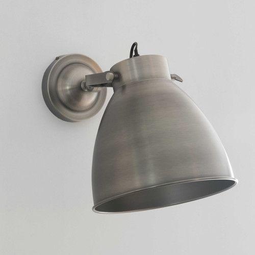 Wandleuchte aus gebürstetem Metall, H 47 cm, USINE