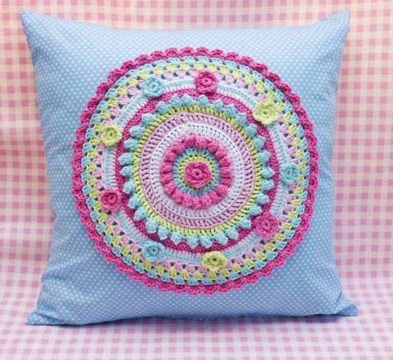 Crochet applique cushion colourful crochet by KerryJayneDesigns