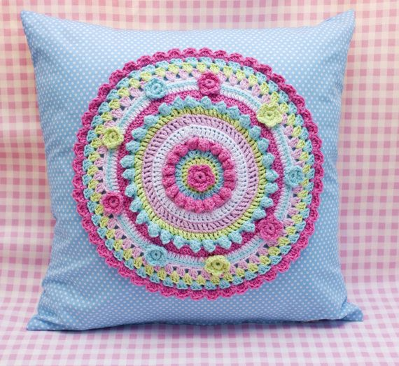 Crochet applique cushion colourful crochet by KerryJayneDesigns