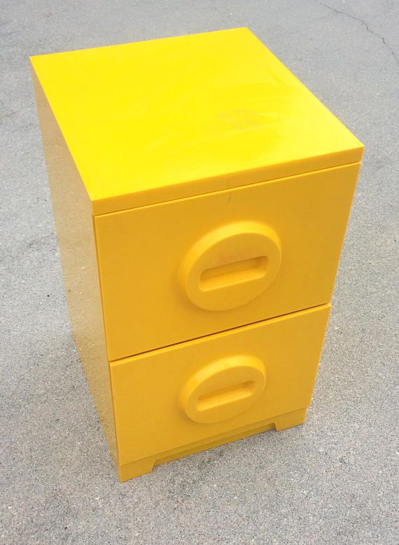 Vintage Akro-Mils Yellow Plastic Filing Cabinet Pop Art Space Age Midcentury Style via EchoDecoModern on Etsy