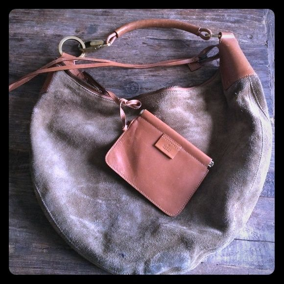 Gucci Boho Chic Suede Bag~Price Firm~  Authentic Very hip and very chic Olive Green Suede and Tan Leather half-moon Boho Chic Gucci bag. Comes with attached coin purse within (pictured) Good condition 8/10 scale, some signs of use, two small stains pictured (last pic) and some ink stains inside bag very minimal. This is a Rare Gucci, purchased in London 2003. Gucci Bags