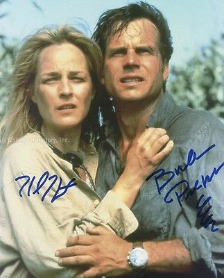 TWISTER MOVIE CAST - PHOTOGRAPH SIGNED CO-SIGNED BY: HELEN HUNT, BILL PAXTON