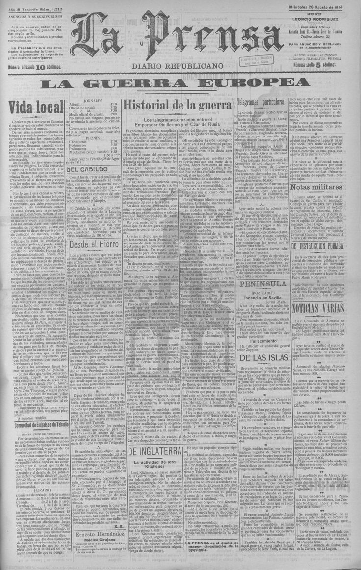 La Prensa - 26 de agosto de 1914. Primeros desencuentros entre Alemania y Rusia, como prolegómenos a su enfrentamiento bélico.