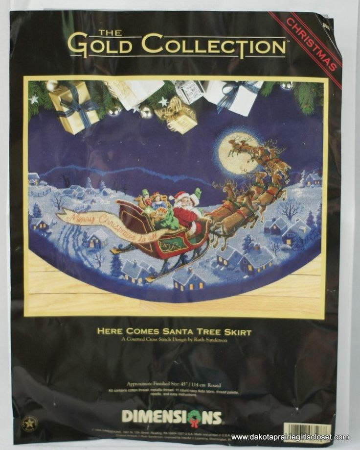 dimensions gold here comes santa cross stitch tree skirt