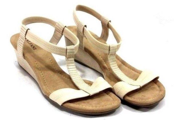 4bcbfde10 Alfani Womens Voyage Sandals Size 7 Wedge Heel Ankle T Strap Textured   Alfani  TStrapSandals