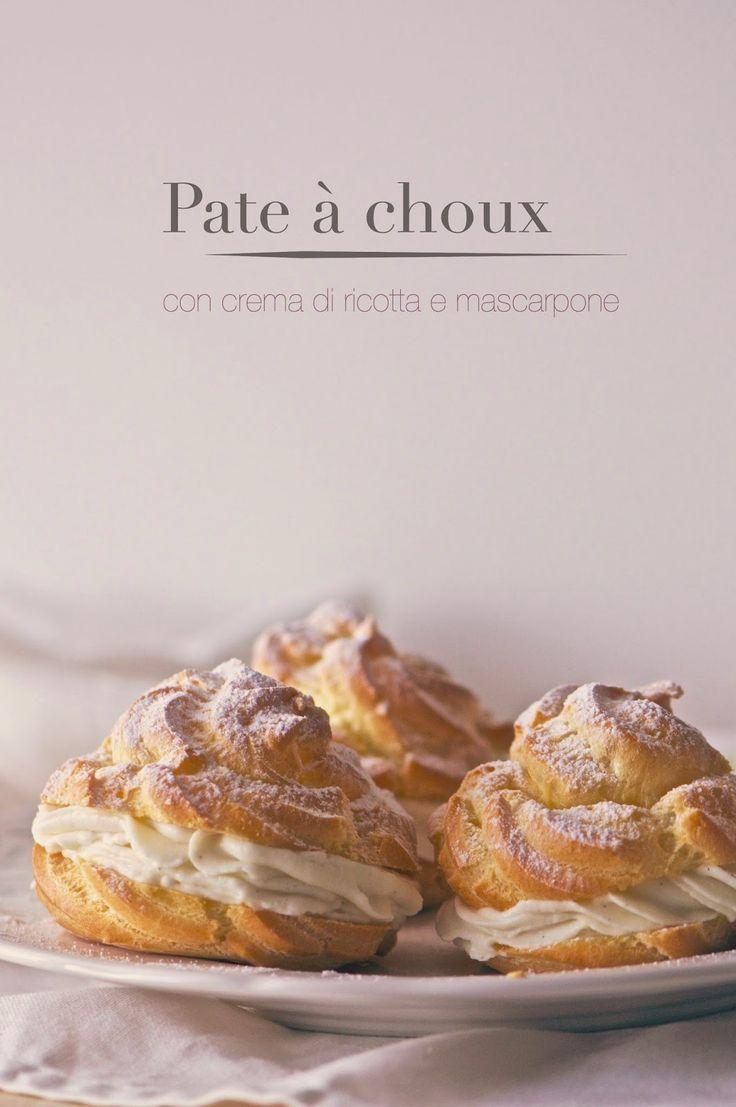 Pate a choux with cream cheese and mascarpone - Pate à choux con crema di ricotta e mascarpone - la pancia del lupo
