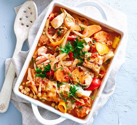 This quick and easy one-pot is bursting with gut-friendly vegetables and chunky pieces of fish for a healthy, filling dinner.