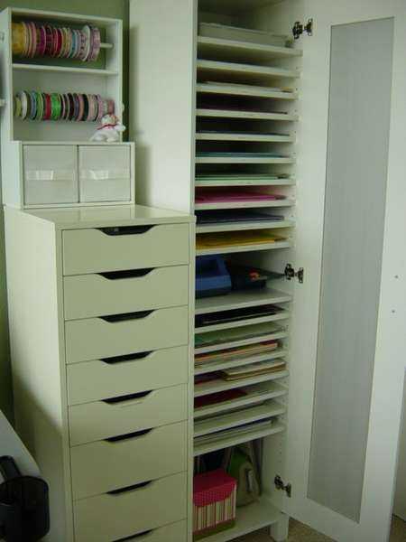 644 best girly craft rooms offices and closets images on for Craft paper storage ideas