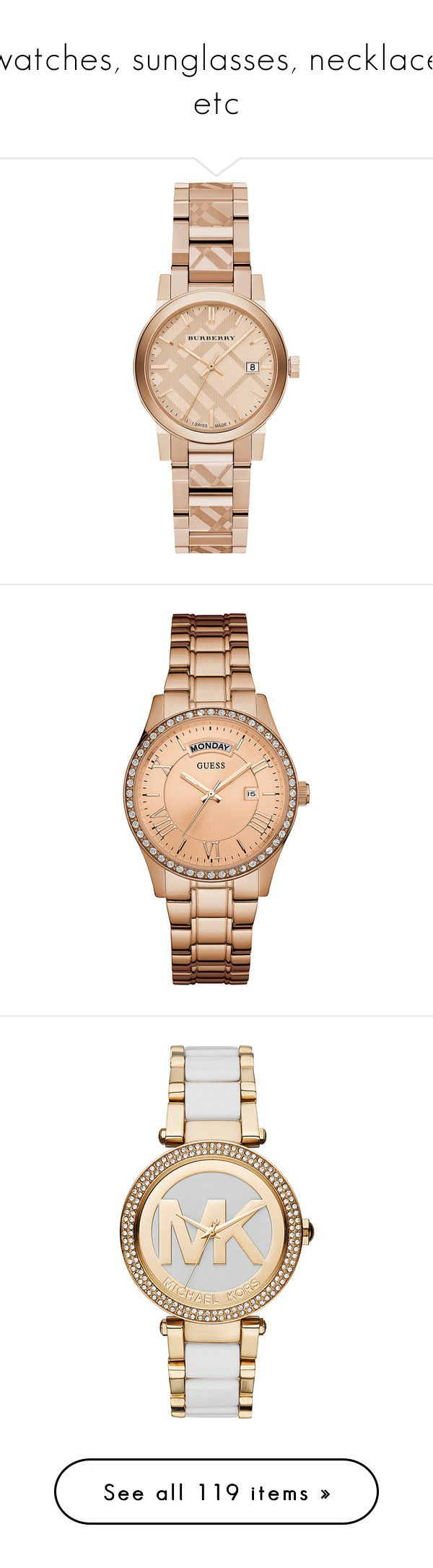 """watches, sunglasses, necklace etc"" by chanelesmith51167 ❤ liked on Polyvore featuring jewelry, watches, accessories, bracelets, relojes, burberry jewelry, red gold jewelry, rose jewellery, dial watches and burberry"