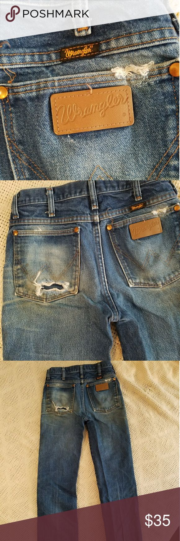Vintage high waist Wrangler jeans 100% vintage Wrangler denim jeans high waist. needs a few reinforcement stitches in the crotch Wrangler Jeans Boot Cut
