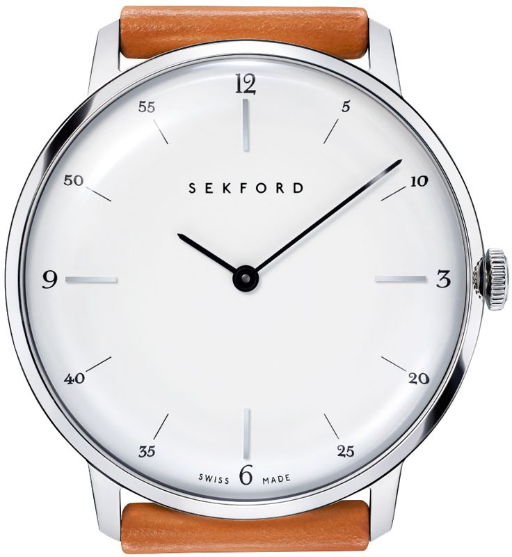 Sekford Type 1A stainless-steel dress watch / Tan English Bridle leather