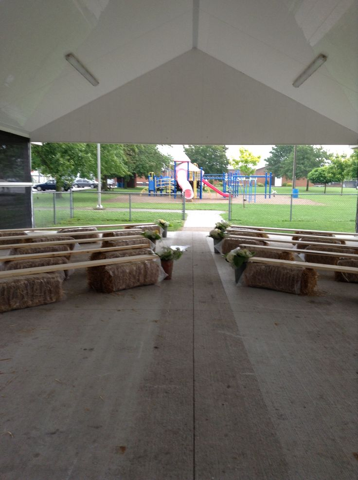 Rain plan ceremony site - pavilion at the park - bales and boards!