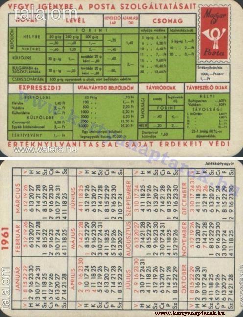 1961 - 1961_0070 - Régi magyar kártyanaptárak