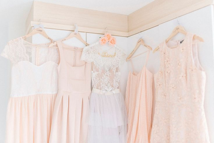 A Tiered Wedding Dress for a Delightful Peach and Pale Blue Country House Wedding