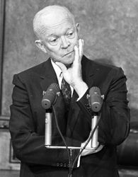 On Oct. 19, 1960, the Eisenhower administration placed an embargo on exports to Cuba, setting in motion an uneasy political relationship that continues to this day.  (PHOTO:  President Dwight D. Eisenhower)