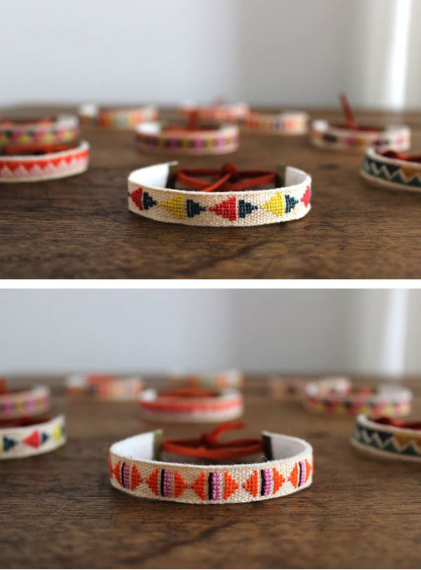 That's Happy: embroidered linen bracelets