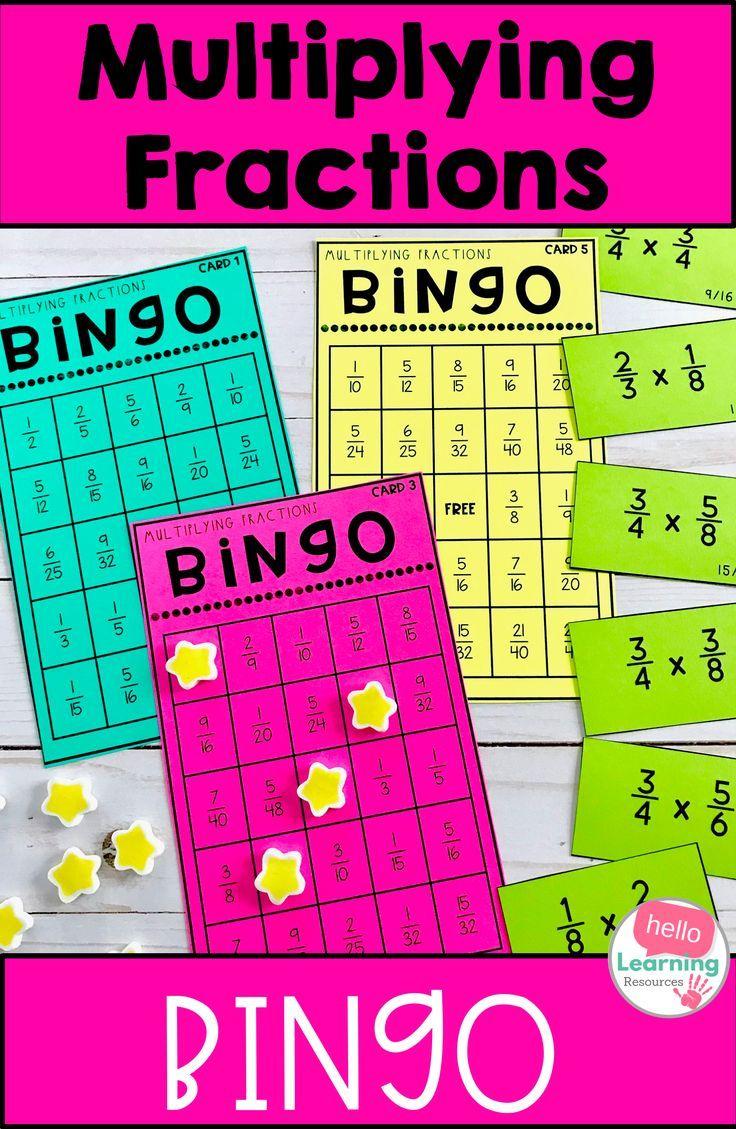 Multiplying Fractions Bingo Multiplying Fractions Fraction Bingo Multiplication Math Centers Adding and subtracting fraction bingo