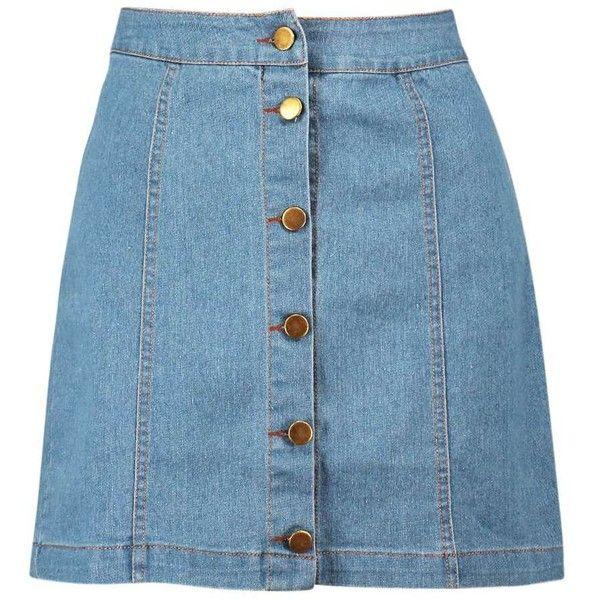 Boohoo Hollie Button Front Denim Mini Skirt ($26) ❤ liked on Polyvore featuring skirts, mini skirts, bottoms, denim skirt, faldas, miniskirts, mini skirt, women skirts and denim miniskirt