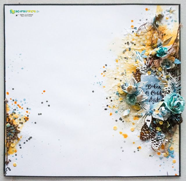 Wintry mixed media layout tutorial by Maria Lillepruun