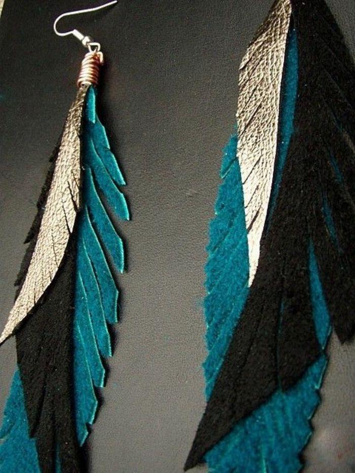 boucle d'oreille pendante de plume noir et bleu
