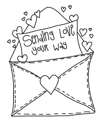 Love envelope coloring page