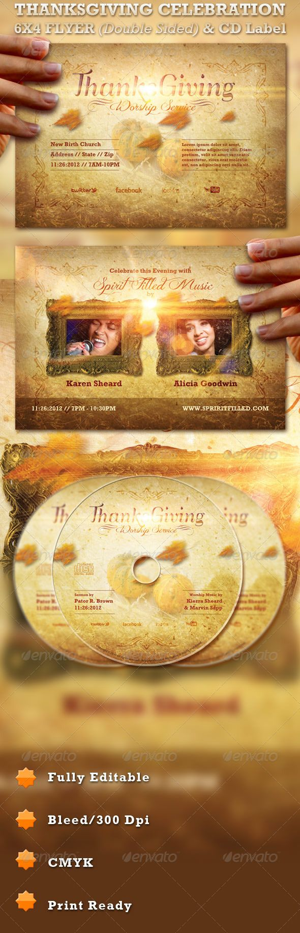 Thanksgiving Celebration Flyer and CD Label- Price: $6.00
