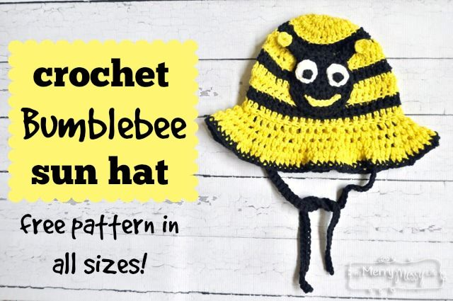 Crochet Bumblebee Sun Hat – Free Pattern in All Sizes!