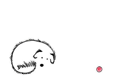 Cute Simple Line Art : Cute dog drawing simple whimsical art print feel