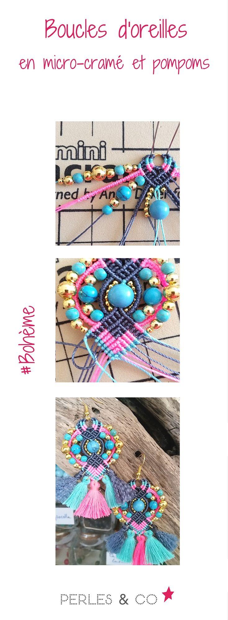 Vous aimez le style bohème? Retrouvez ce tutoriel de boucles d'oreilles réalisées en micro-cramé et pompoms aux couleurs rose et turquoise, pile dans la tendance de cet été https://www.perlesandco.com/Boucles_d_oreilles_bohemes_micro_macrame_et_pompons-s-2614-6.html