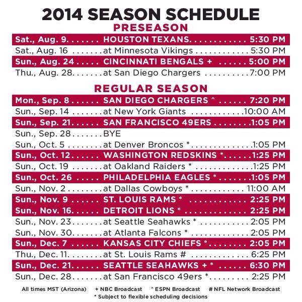 Arizona Cardinals Schedule 2014