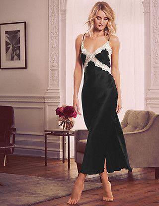 Pure Silk Lace Long Nightdress   M&S