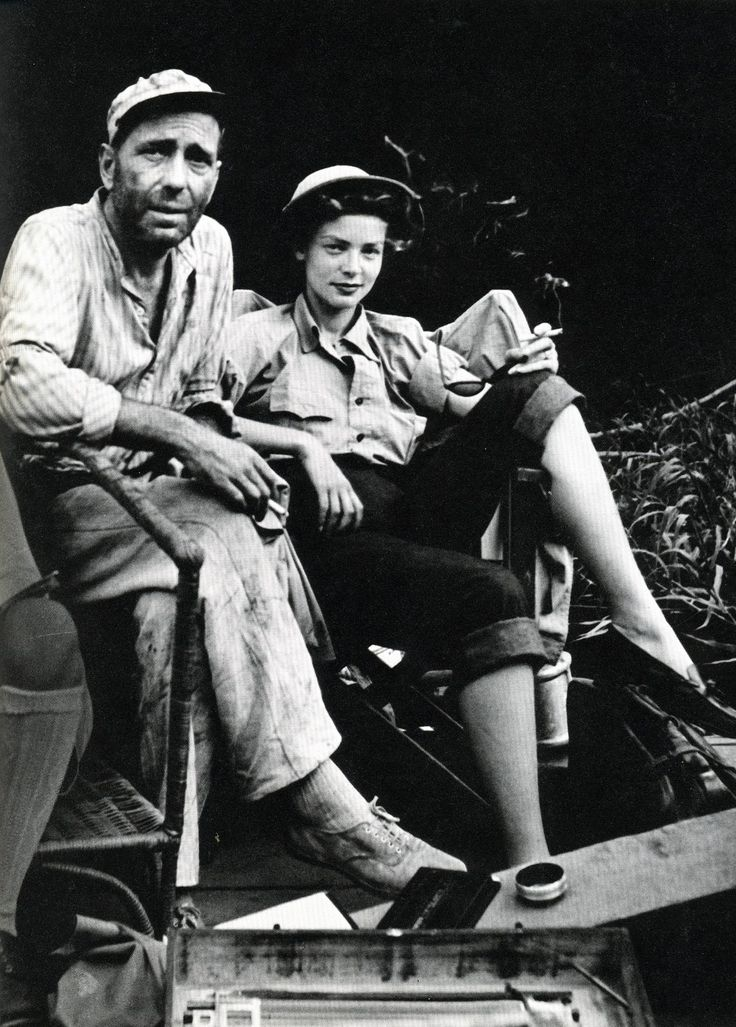 Love this photo of Bogart and Bacall (and her style) on the set of The African Queen