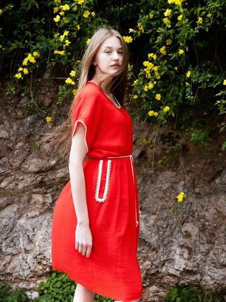 Lave red viscose blend Dress Hellas dress with ecru cotton loop detailing.