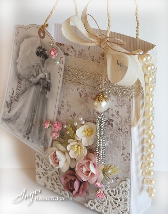 452 best gift bags images on pinterest brown bags christmas vintageshabby chic gift bag this is absolutely gorgeous negle