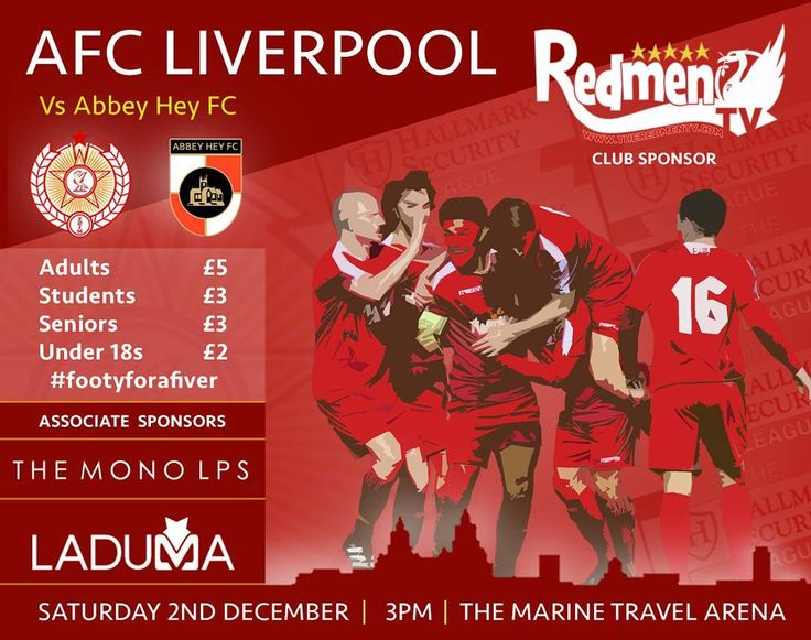 AFC Liverpool vs Abbey Hey FC Sat 2nd December 3pm College Road Crosby Get down to watch the #NonLeague Reds. We need your support! #LFC #YNWA #fanowned #affordable Image by @josephmarsh95