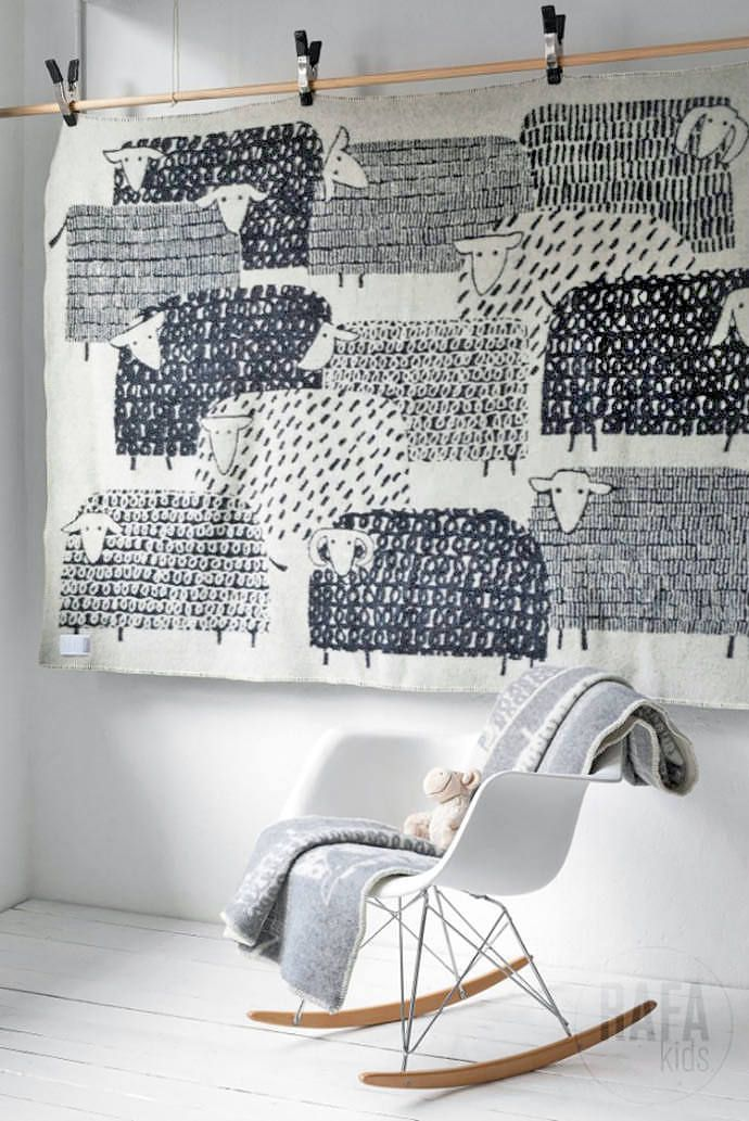 Finnish wool blankets by Masaru Suzuki - Adorable lamb print and Eames Rocker